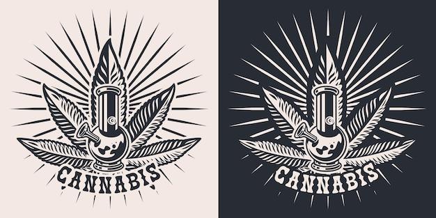 Situé sur le thème du cannabis avec un bang, feuille de chanvre