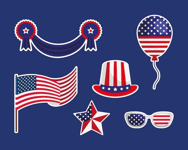 Six autocollants pour l'indépendance des états-unis