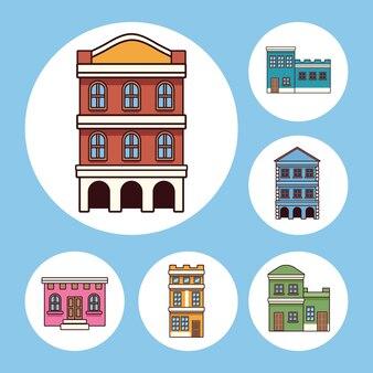 Six bâtiments de la festa junina
