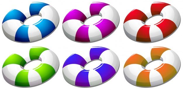 Six bouées colorées