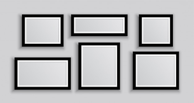 Six cadres photo muraux de différentes tailles