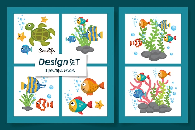 Six cartes d'icônes mignonnes de la vie marine