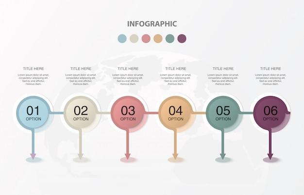 Six cercles infographies pour le concept commercial actuel.