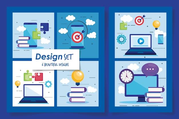 Six conceptions de travail d'équipe mis en illustration