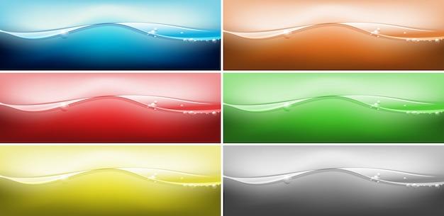 Six couleurs différentes d'eau ondulée