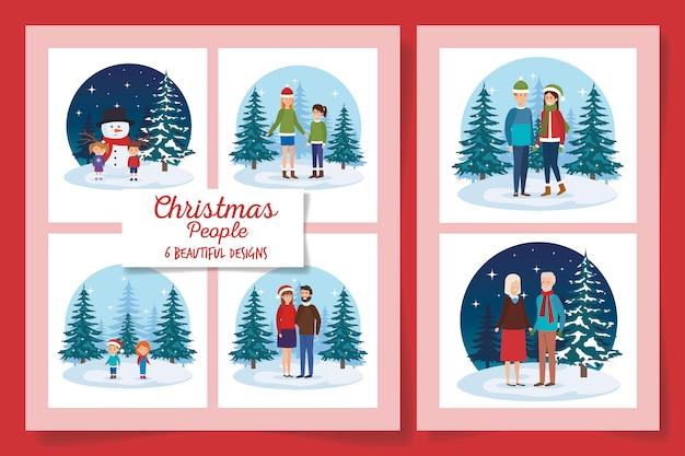 Six dessins de personnes de noël dans le paysage d'hiver
