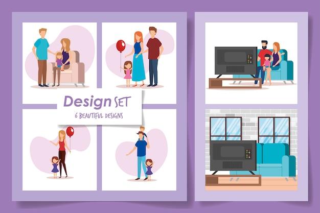 Six dessins de scènes de famille de membres