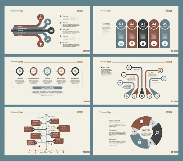 Six diagrammes de travail d'équipe ensemble de modèles de diapositives