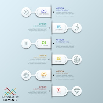 Six éléments arrondis liés aux zones de texte et pictogrammes, modèle infographique
