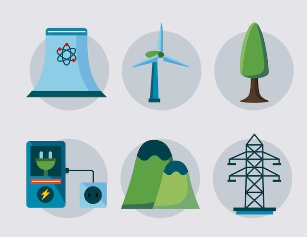 Six éléments d'énergie propre