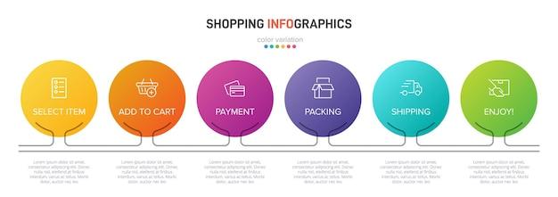 Six éléments Graphiques Colorés Pour Les étapes Successives Du Processus D'achat Avec Icônes Et Texte Vecteur Premium