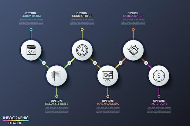 Six éléments ronds avec des icônes à l'intérieur placés en parcours en zigzag et reliés par des lignes et des boutons de lecture. étapes de développement commercial.