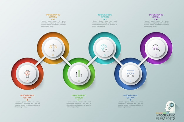 Six éléments ronds avec des lettres et des icônes linéaires à l'intérieur connectés par une ligne en zigzag. étapes successives du concept de développement commercial.