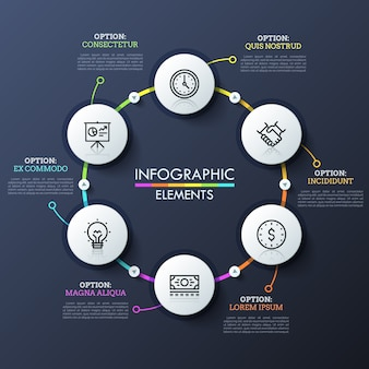 Six éléments ronds avec pictogrammes à l'intérieur reliés par des lignes colorées et des boutons de lecture. modèle de conception infographique inhabituel.