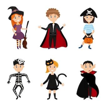 Six enfants en costumes de carnaval effrayants pour halloween. illustration d'enfants de dessin animé sur halloween.