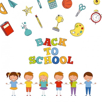 Six enfants à l'école avec illustration des éléments de l'école
