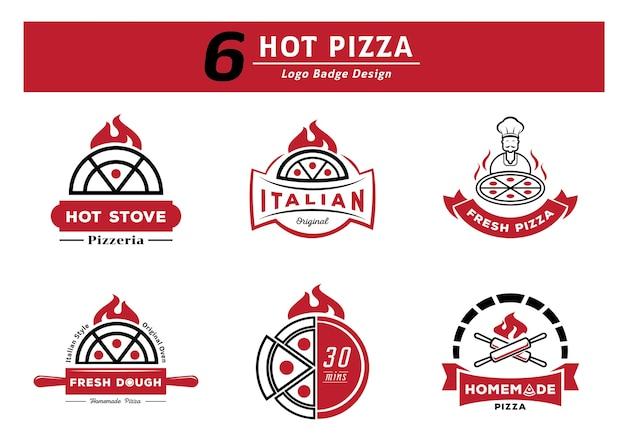 Six ensemble de conception de logo de pizza chaude