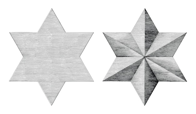 Six étoiles main pointue dessiner style vintage noir et blanc