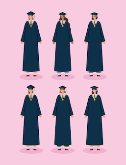Six femmes diplômées