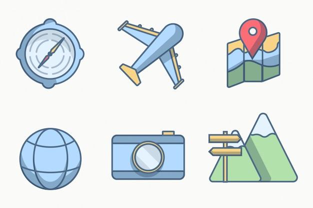Six icône ou objet voyagent avec la couleur des lignes de style