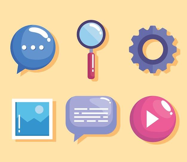 Six icônes de conception de sites web