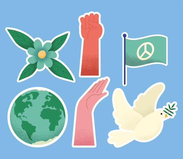 Six icônes définies pour le jour de la paix