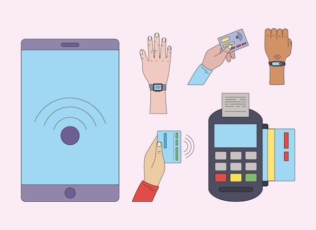 Six icônes de jeu de paiement sans contact