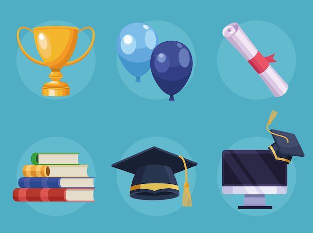 Six icônes de remise des diplômes virtuelles