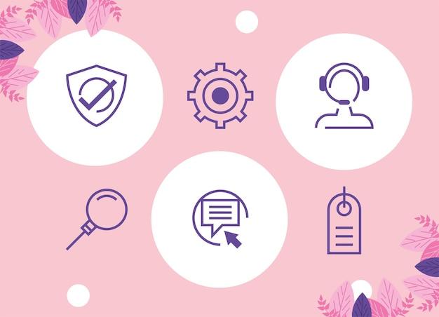 Six icônes de service d'assistance