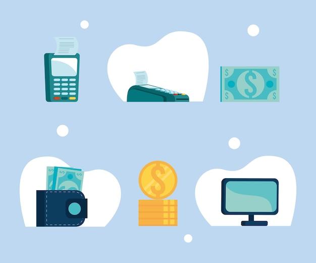 Six icônes de transaction mobile
