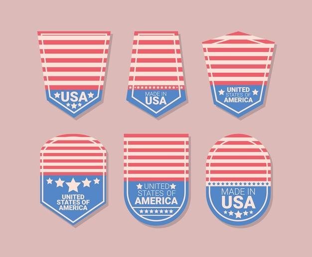 Six insignes des états-unis