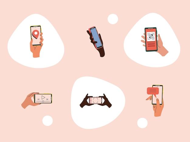 Six mains utilisant des smartphones
