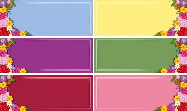 Six modèles de bannière avec des fleurs colorées