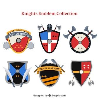 Six modèles d'emblème de chevalier