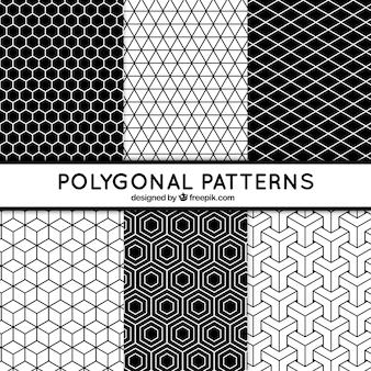 Six modèles noir et blanc avec des formes polygonales
