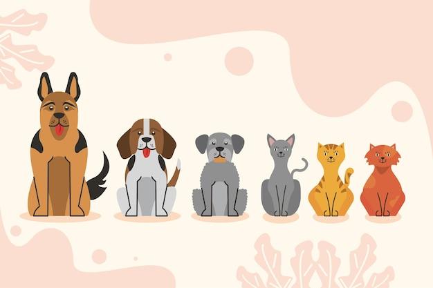 Six personnages d'animaux de compagnie