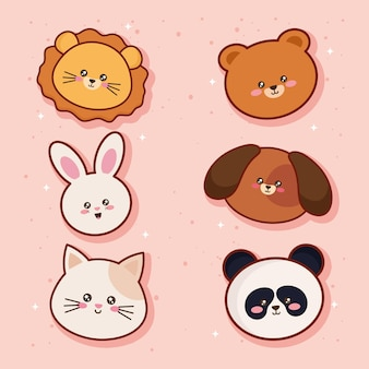 Six personnages animaux têtes kawaii