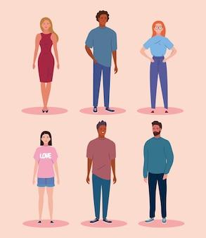 Six personnages de diversité