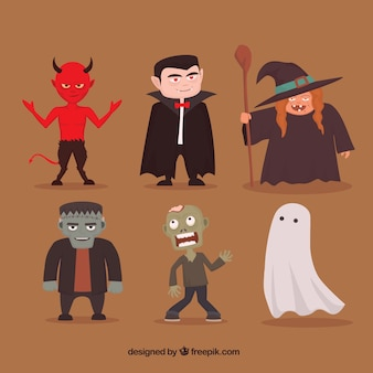 Six personnages de halloween
