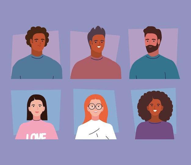 Six personnages de jeunes