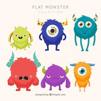 Six personnages de monstres différents