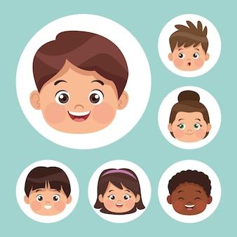 Six personnages de petits étudiants