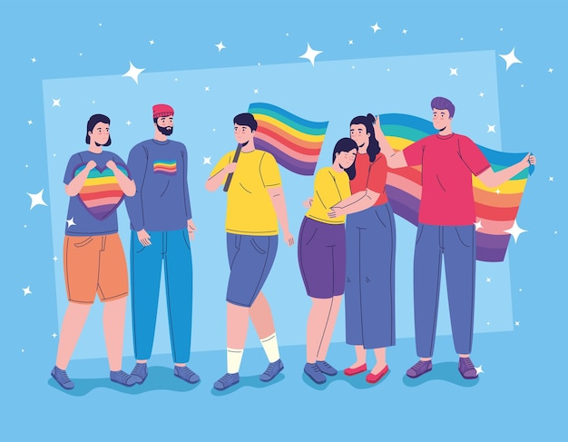 Six personnes avec des caractères de drapeaux lgtbi