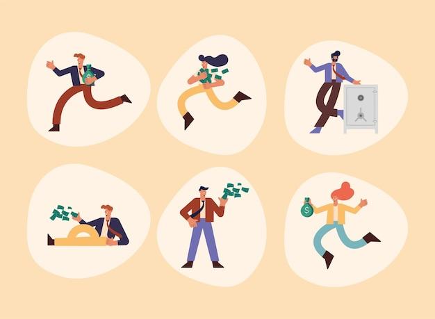 Six personnes riches avec de l'argent