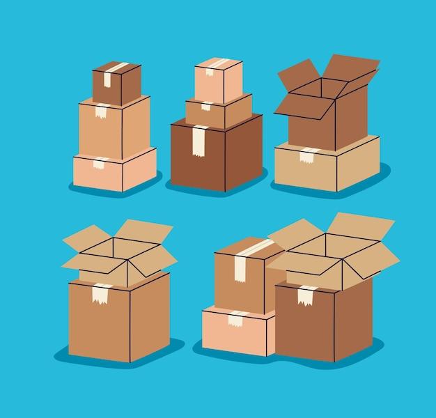 Six piles de boîtes