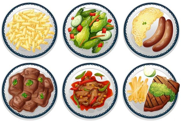 Six plats de plats principaux sur le menu