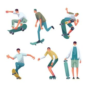 Six pro men skateboard gesture set