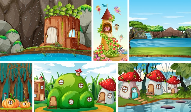 Six scènes différentes du monde fantastique avec de belles fées dans le conte de fées et le château avec des fées