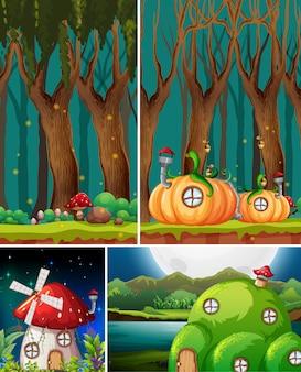 Six scènes différentes du monde fantastique avec des lieux fantastiques et des personnages fantastiques tels que la maison de la citrouille et la maison des champignons