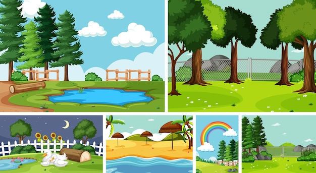 Six scènes de la nature avec des endroits différents